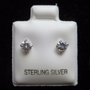 4mm Clear Cubic Zirconia Sterling Silver Stud Earrings